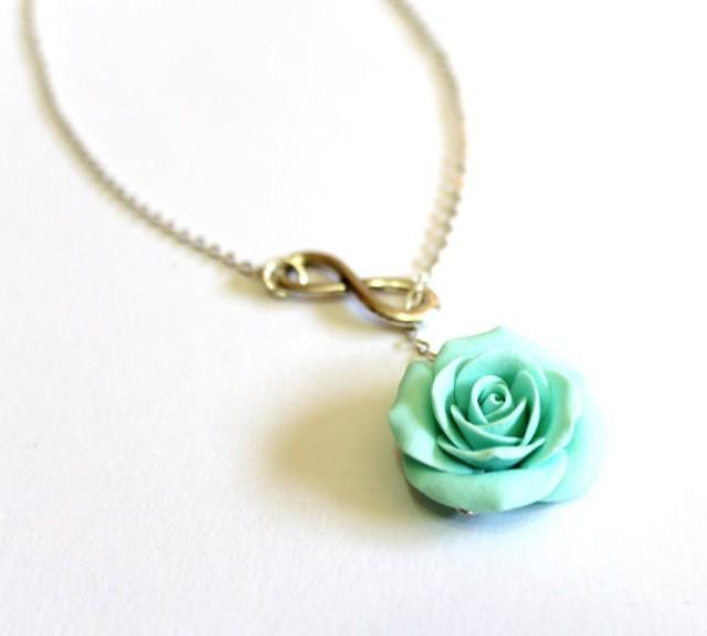 mint green infinity lariat necklace mint green bridesmaid