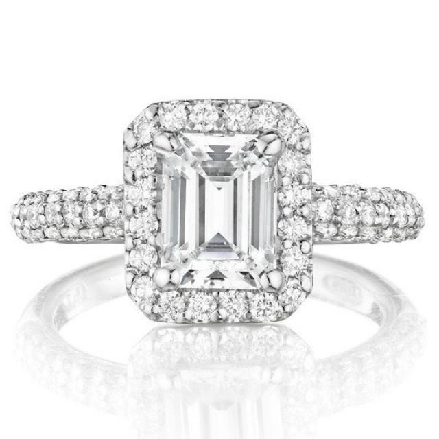 wedding photo - 1 Carat Emerald Forever Brilliant Moissanite Diamond Halo Pave Band Engagement Rings, Moissanite Bridal Jewelry, Jewelers, Anniversary Gifts