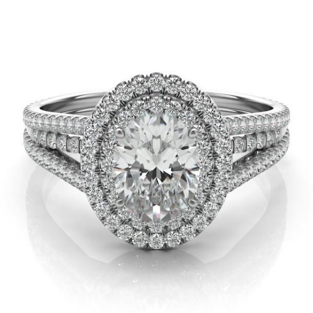 oval forever one moissanite diamond engagement ring 14k white gold double halo moissanite vs. Black Bedroom Furniture Sets. Home Design Ideas