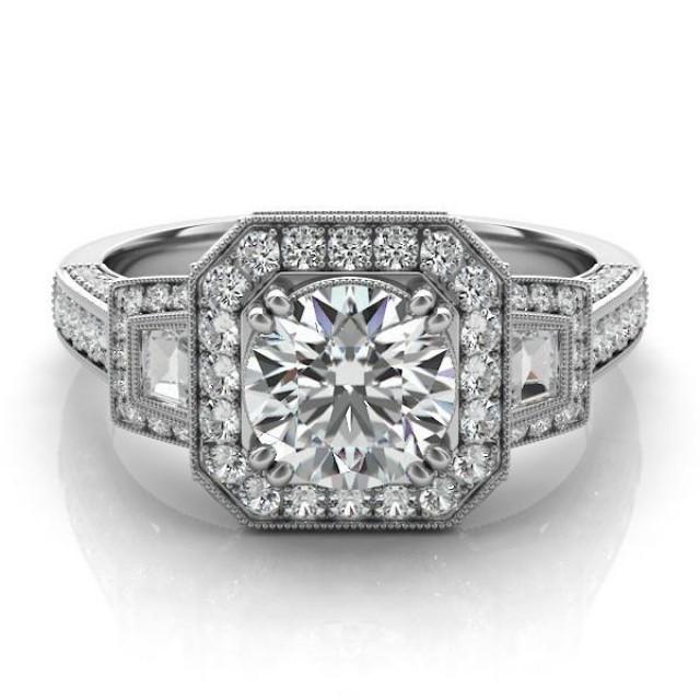 wedding photo - Vintage Inspired Forever One Moissanite & Diamond Engagement Ring, Side Stones, Three Stone, Gemstone, Birthstone, Custom, Customize, Moissanite Antique Rings, Jewelry, Anniversary