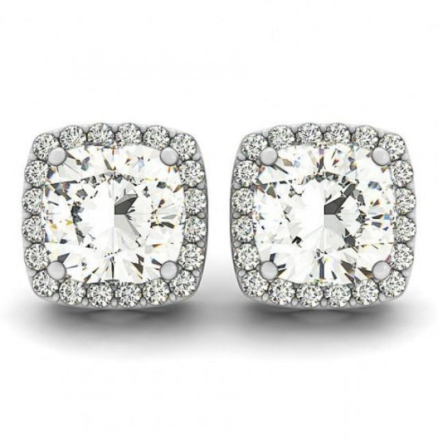 wedding photo - Cushion Moissanite & Diamond Halo Stud Earrings, Anniversary Gifts for Women, Wedding Jewelry, Designer, Stud Earrings, Pave