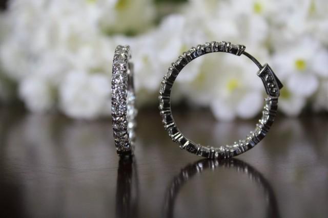 wedding photo - 5 Carat Forever Brilliant Moissanite Hoop Earrings 14k White Gold (30mm), Moissanite Hoops, Moissanite Earrings, Brilliant Round, Anniversary Jewelry, Gifts for Women