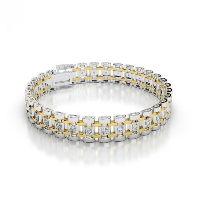 wedding photo - Men's Diamond Link Bracelet 14k Two Tone, Bracelets for Men, Anniversary Gifts for Husband, For Boyfriend, High End, Luxury Jewelry, Mens Bracelets, Diamond Bracelets for Men