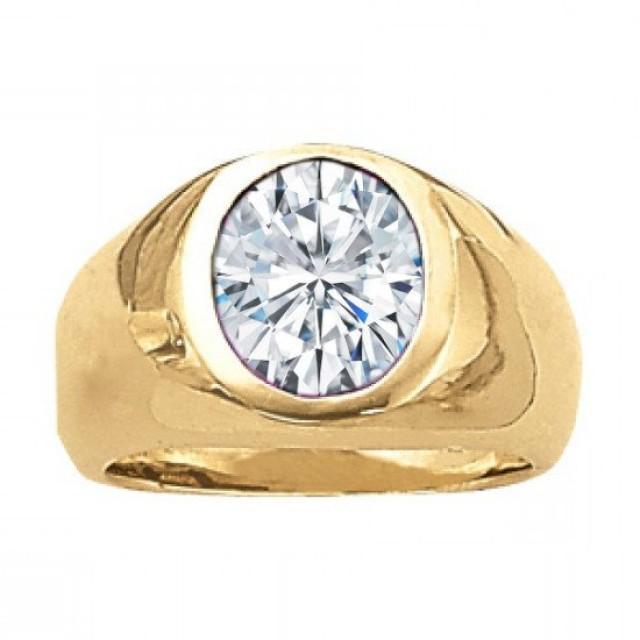 wedding photo - 2 Carat Oval Forever One Moissanite Bezel Men's Ring 14k Yellow Gold, Men's Pinky Rings, Moissanite vs Diamond, Engagement, Wedding Gifts, Anniversary for Men, Men's Rings