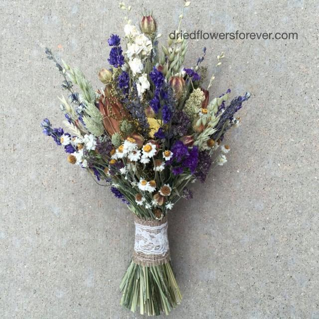 wedding photo - Purple Dried Flower Wedding Bouquet - Natural Rustic Preserved Bridal Bouquets - Green White Blue Woodland - VINTAGE WILDFLOWER COLLECTION