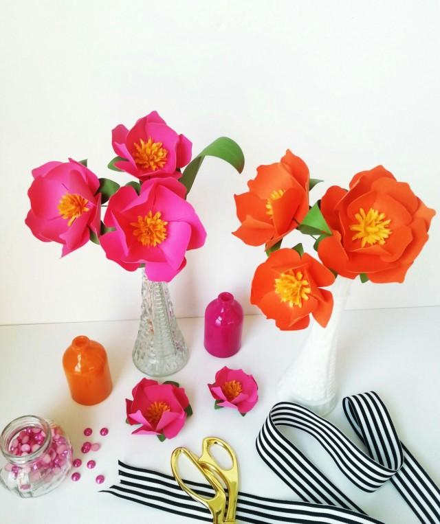 wedding photo - Handmade Paper Flower  - Kate Spade Inspired - Set of 3 - Stems  Included
