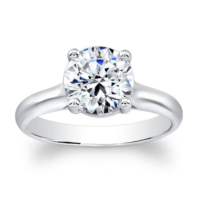 La s 14k Classic Engagement Ring With Natural 2ct Round Brilliant White Sap