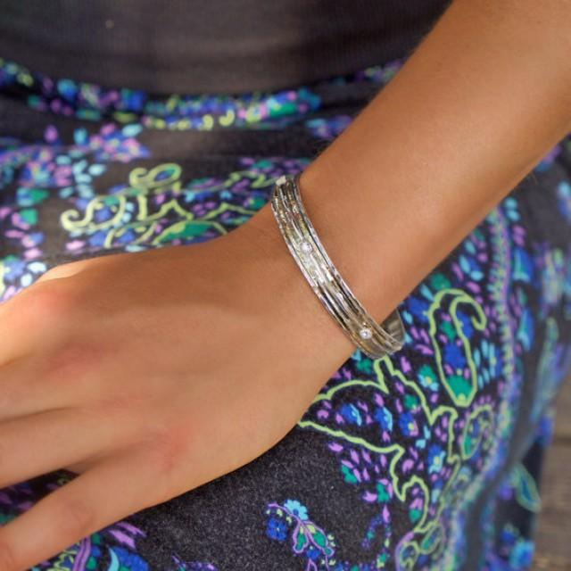 wedding photo - Silver Bangle, Silver and gold bangle, CZ bangle, Semi Precious Stone Bangle, CZ Spinning bangle, Boho CZ Spinning bracelet, Unusual bangle