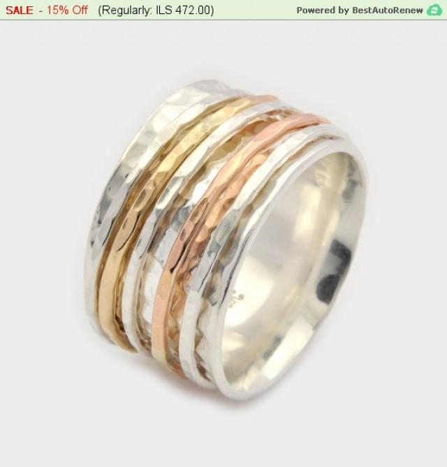 wedding photo - Hammered Silver Spinner Ring, Silver Spinner Ring, Silver and Gold Spinner Ring, Hammered Silver Spinner Ring, Meditation Ring