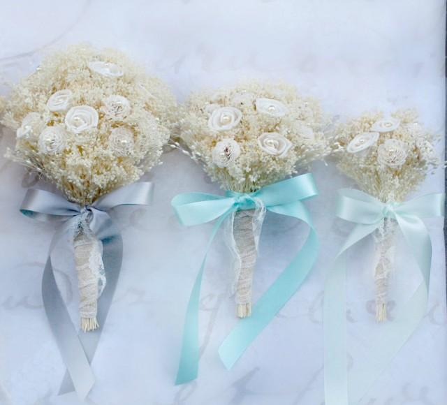 Cream Sola Flower Wedding Bouquet Natural Baby S Breath Dried Flower Lace Pearl Rustic