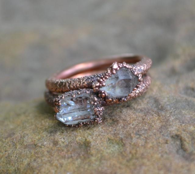 Herkimer Diamond Ring Copper Electroformed Ring Raw Crystal Ring Copper Ri