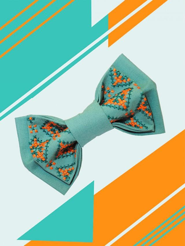 wedding photo - Wedding bow tie Embroidered bowtie Turquoise orange tie Men's bow tie Groom Cadeau d'anniversaire Wedding Mint Teal Coral Aqua Purple Peach