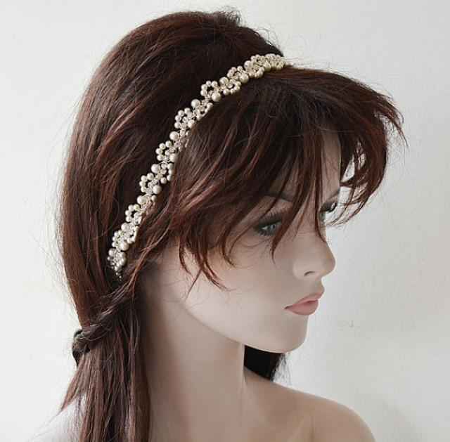 wedding photo - Bridal Headband, Wedding Pearl Hair Accessories, Wedding Pearl Headband, Headband Mariage, Wedding hair Accessory