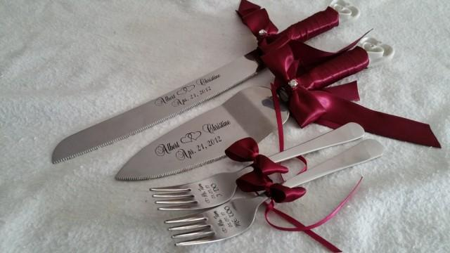 Wedding Gift Knife Set : ... Knife-server And Forks Set, Weddings, Anniversary, Custom Gift