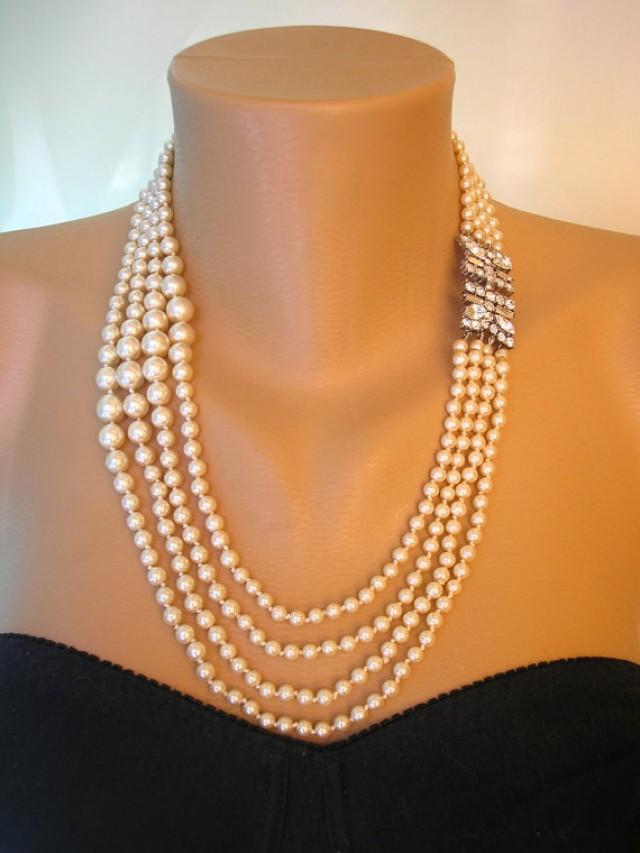 Great Gatsby Jewelry, Art Deco, Pearl Necklace, Pearl ...