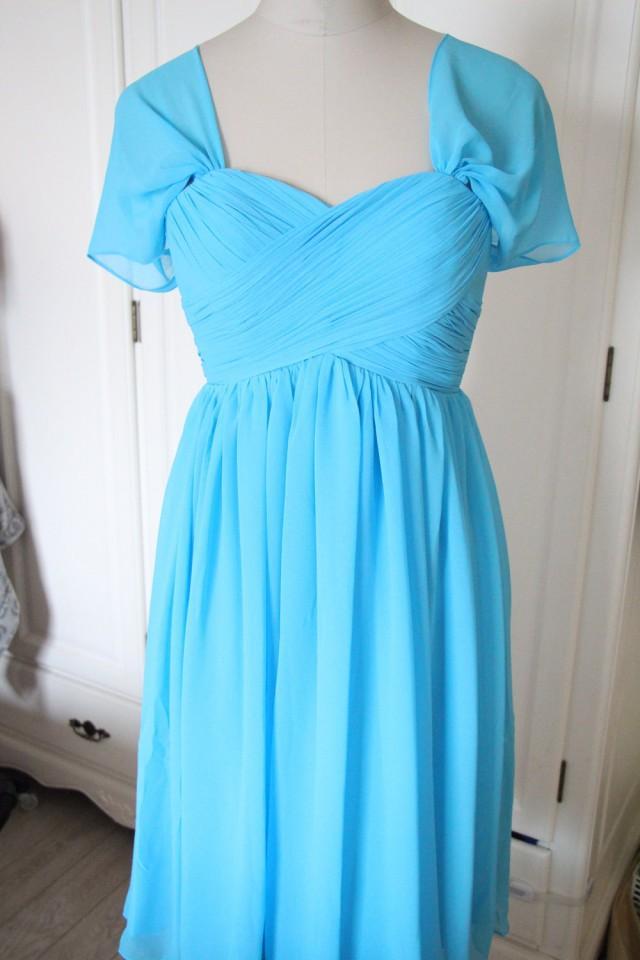 Light blue straps bridesmaid dress short swetheart chiffon for Short light blue wedding dress