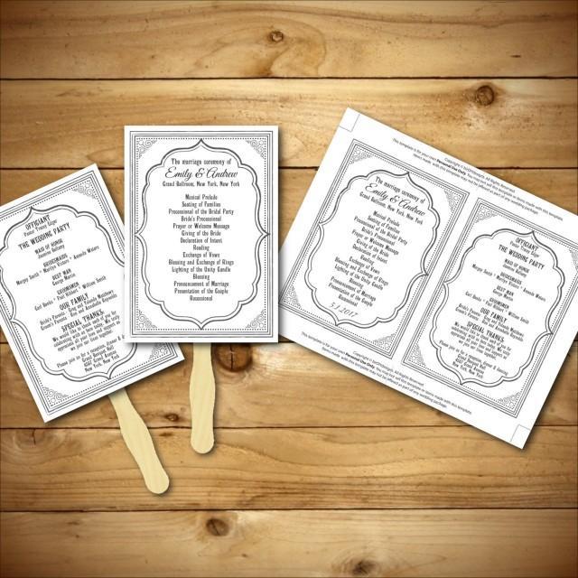Wedding program template printable wedding program diy wedding fan template instant for Diy wedding program fans template