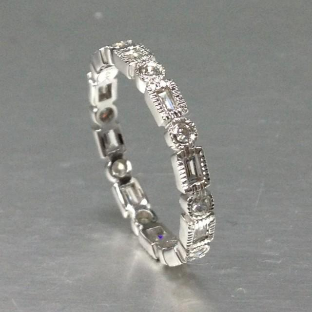 Art Deco Unique Diamond Wedding Ring 14k Two Tone Gold: Art Deco Diamond Wedding Ring,Solid 14K White Gold
