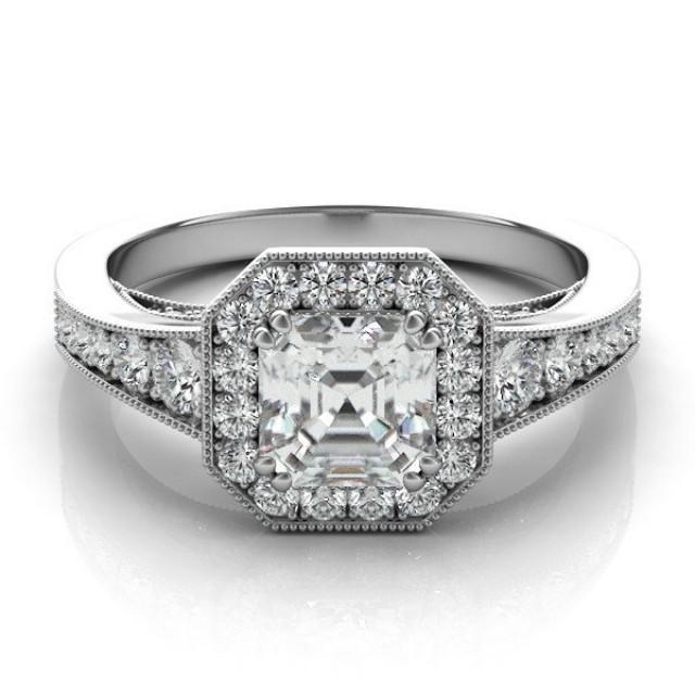 Asscher Cut Forever e & Diamond Engagement Ring 14k 18k Platinum F