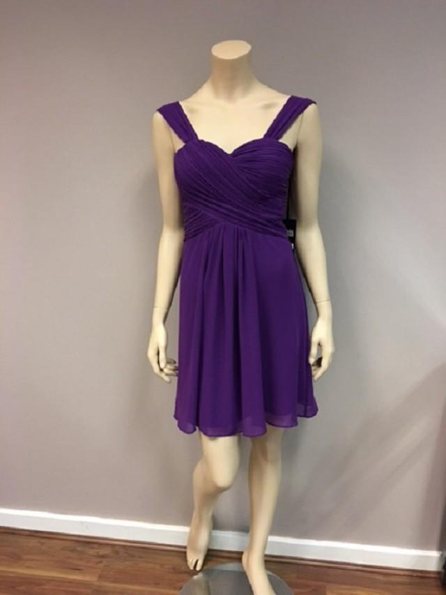 Short purple chiffon dress bridesmaids wedding party prom for Purple summer dresses for weddings