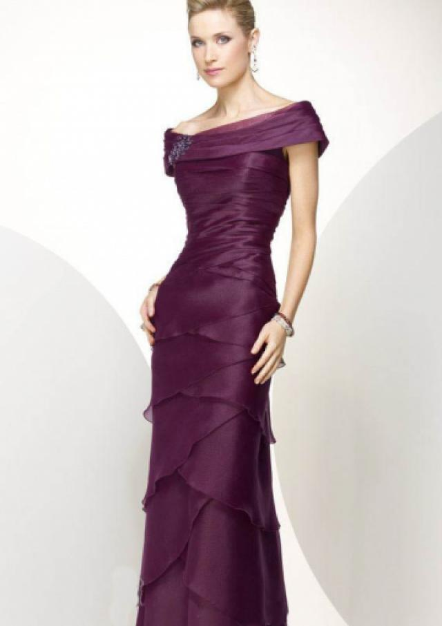 wedding photo - Zipper Purple Off The Shoulder Tiers Chiffon Floor Length