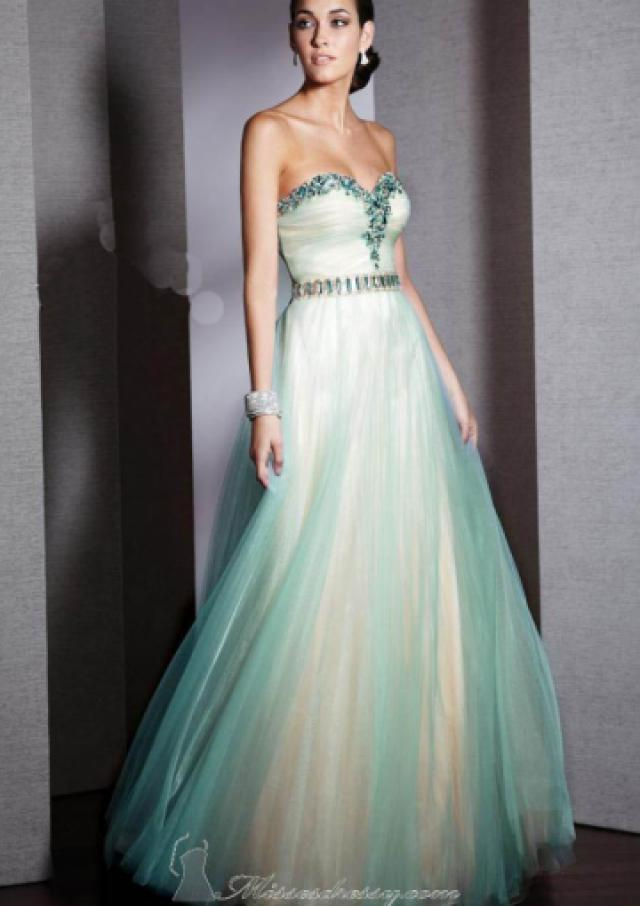 wedding photo - Sweetheart Crystals Tulle Floor Length Ball Gown