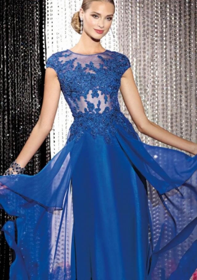 wedding photo - Appliques Tulle Chiffon Ruched Blue Zipper Short Sleeves Floor Length