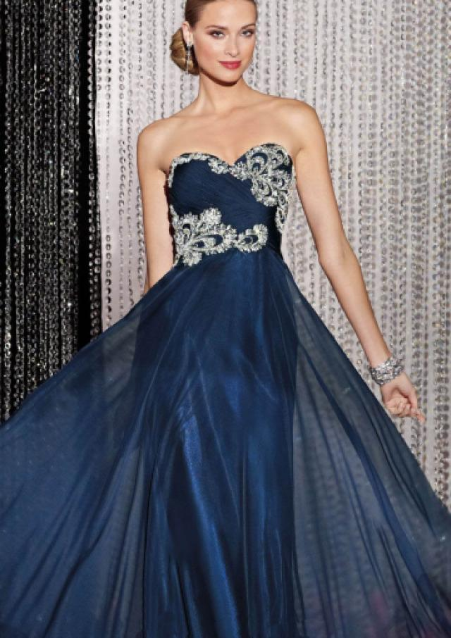 wedding photo - Sweetheart Crystals Navy Sleeveless Floor Length