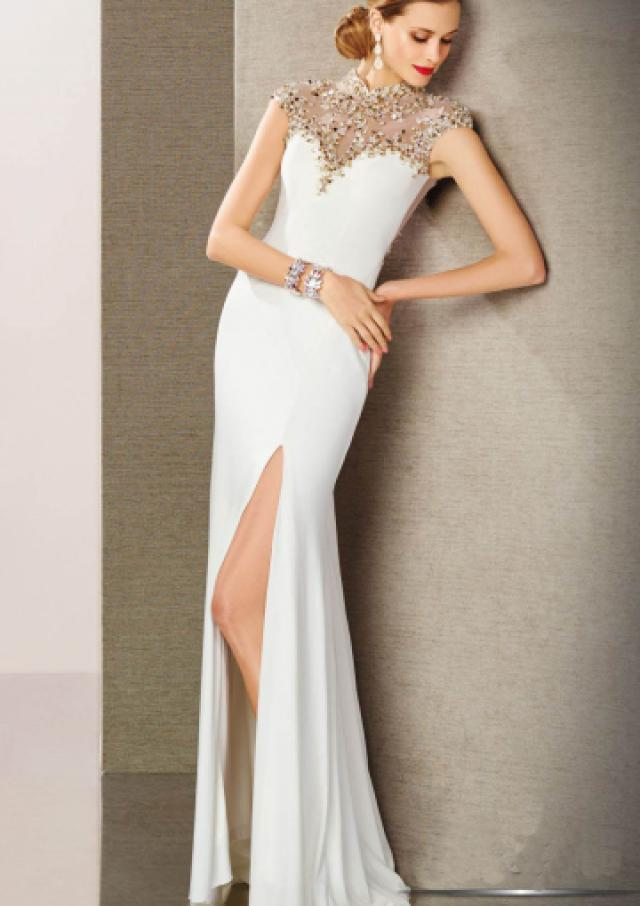 wedding photo - Zipper Crystals Split Front Sleeveless White Sheath Floor Length