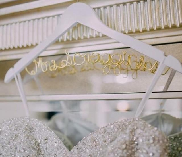 Bridal hanger one line custom bridal hanger brides for Wedding dress hangers with name