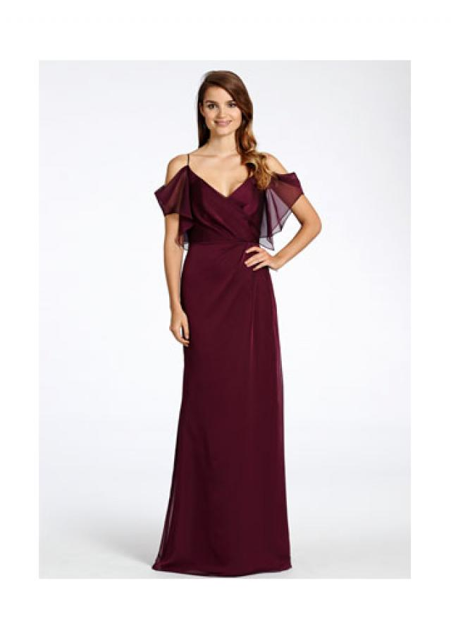 wedding photo - Zipper Draped Sleeves Chiffon Burgundy Spaghetti Straps Floor Length