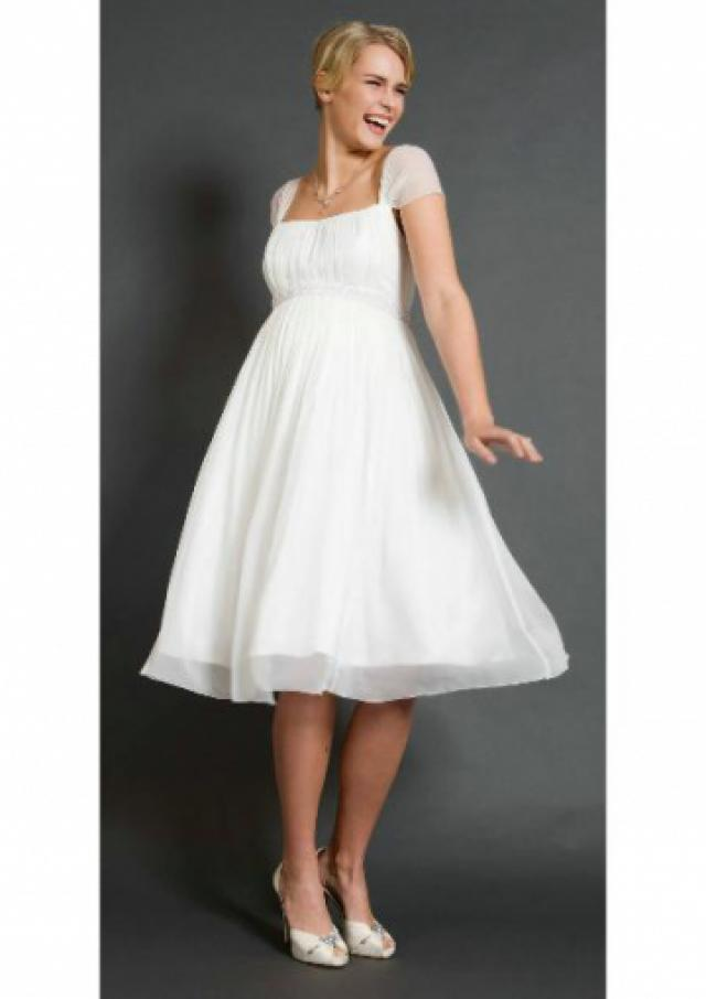 wedding photo - Short Sleeves Knee Length White Chiffon Square