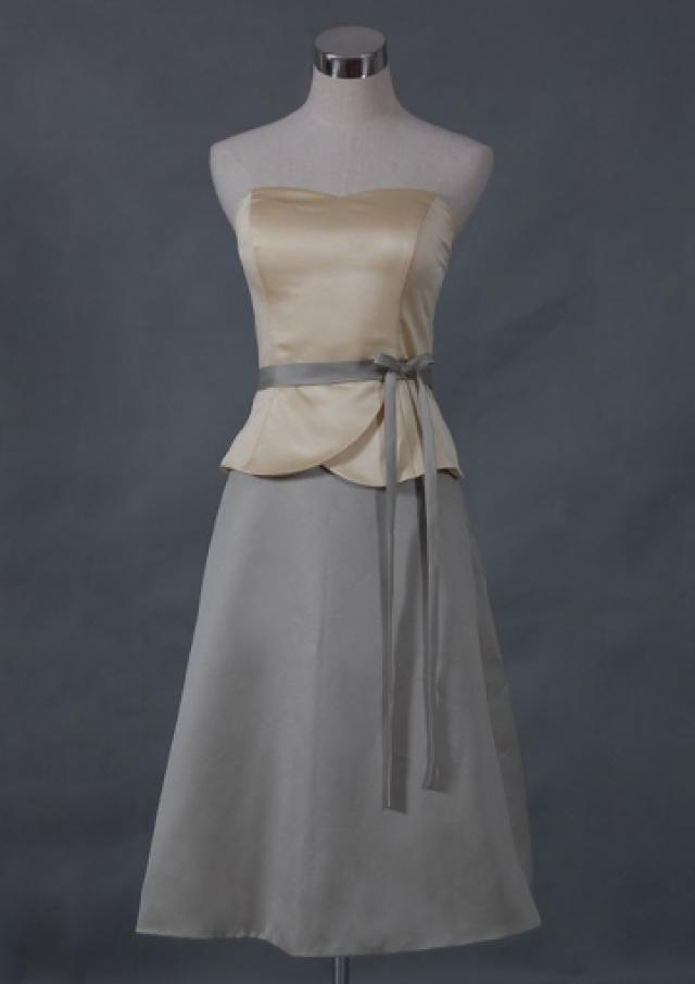 wedding photo - Sleeveless Zipper Bow Sash Grey Strapless Short Length