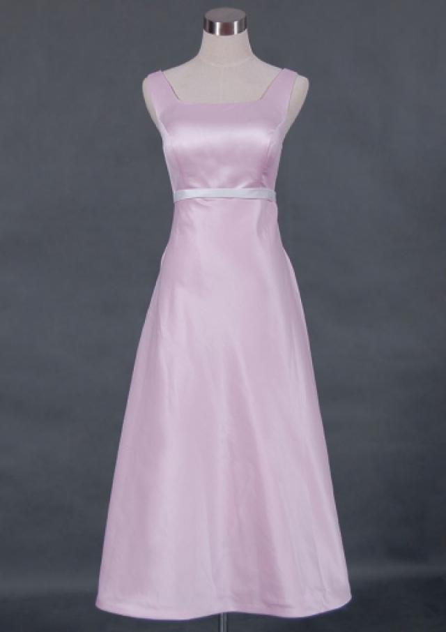 wedding photo - Sleeveless Pink Satin Straps Square Ruched Zipper Tea Length