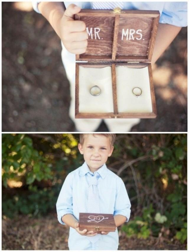 Flower girls ring bearers diy personalized wooden ring for Diy ring bearer