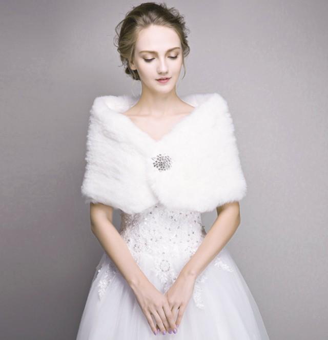 Bridal Fur Stole, Ivory Faux Fur Shawl, Wedding Winter ...