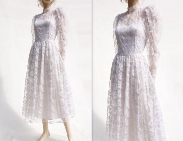 Lace wedding dress vintage tea length 70s wedding dress for 70s style wedding dress