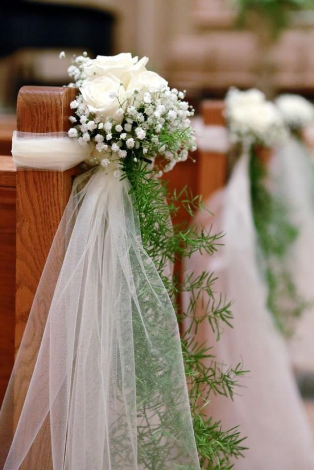 Ivory Rose And Baby's Breath Ceremony Aisle Decor