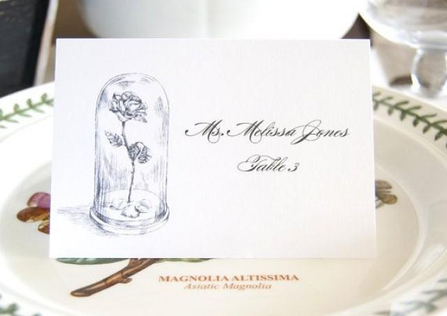 Beauty and the beast fairytale wedding disney place for Personalized wedding place cards