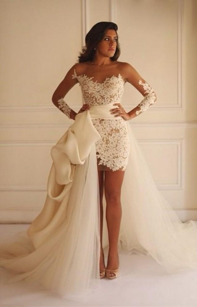 Hi lo illusion lace wedding dresses long sleeves sheath a for Hi lo wedding dress