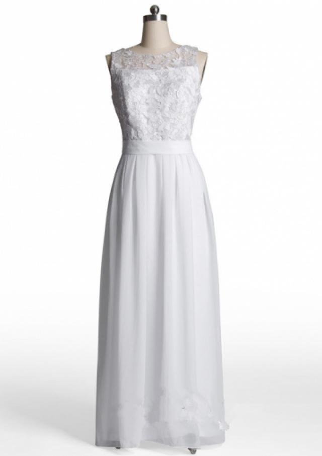 wedding photo - Scoop Appliques Chiffon White Ruched Floor Length