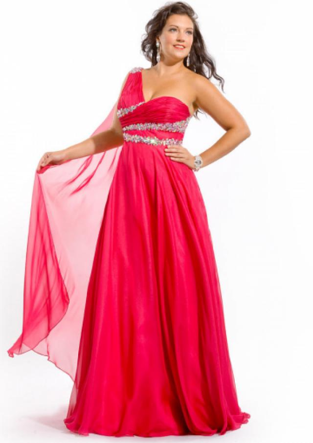 wedding photo - Fuchsia One Shoulder Blue Floor Length Zipper Crystals Chiffon Sleeveless