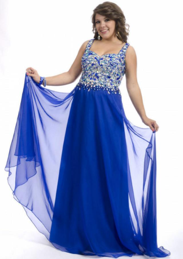 wedding photo - Open Back Crystals Straps Chiffon Floor Length Blue Sleeveless