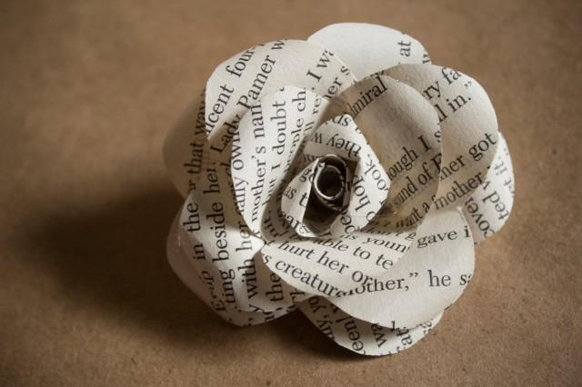 """One Dozen Book Page Roses - 2"""" Paper Flowers Made From ..."""