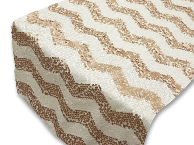 chevron champagne gold blush and white sequin table runner 14x108 2570051 weddbook. Black Bedroom Furniture Sets. Home Design Ideas