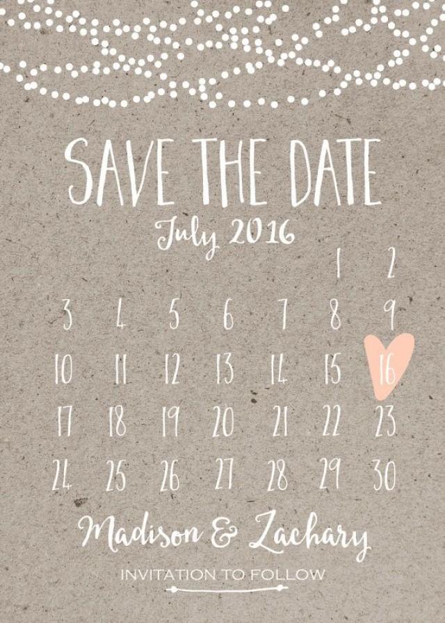 wedding photo - Save The Date Card, Calendar Printable, Simple Wedding Announcement, Kraft Paper, Rustic, Custom Colors, White Neutral Classy