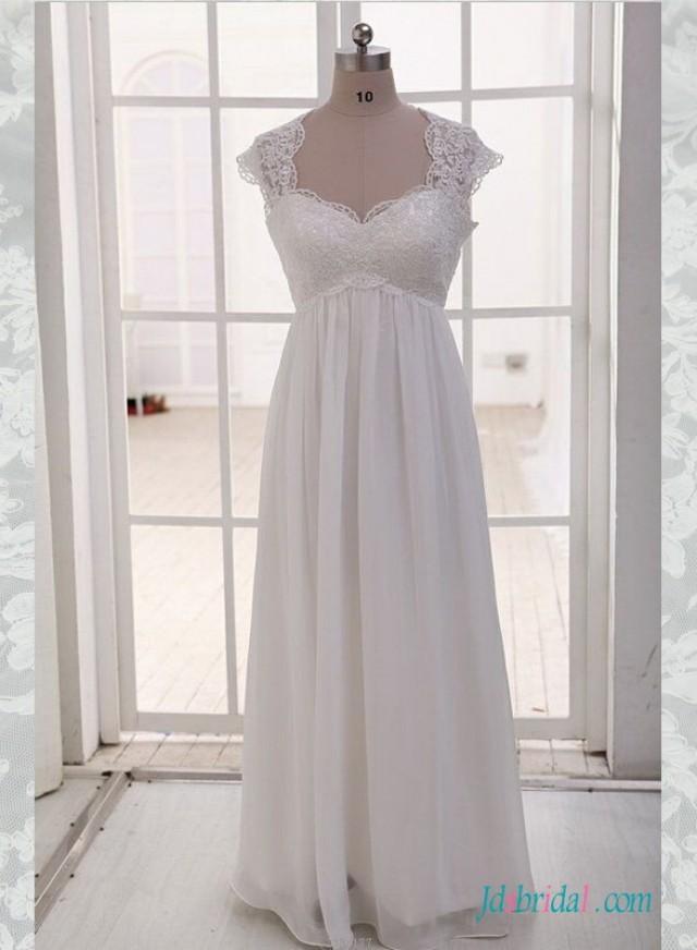 Simple empire plus size chiffon wedding dress with sleeves for Plus size empire wedding dress