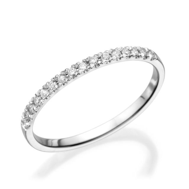 Half Eternity Wedding Band 14K White Gold Ring 012 CT Diamond Eternity Ring Thin Gold Ring