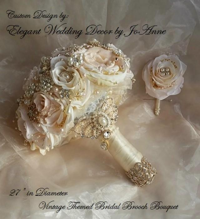 Rose Gold Bridal Brooch Bouquet Blush Pink And Ivory Rose Gold And