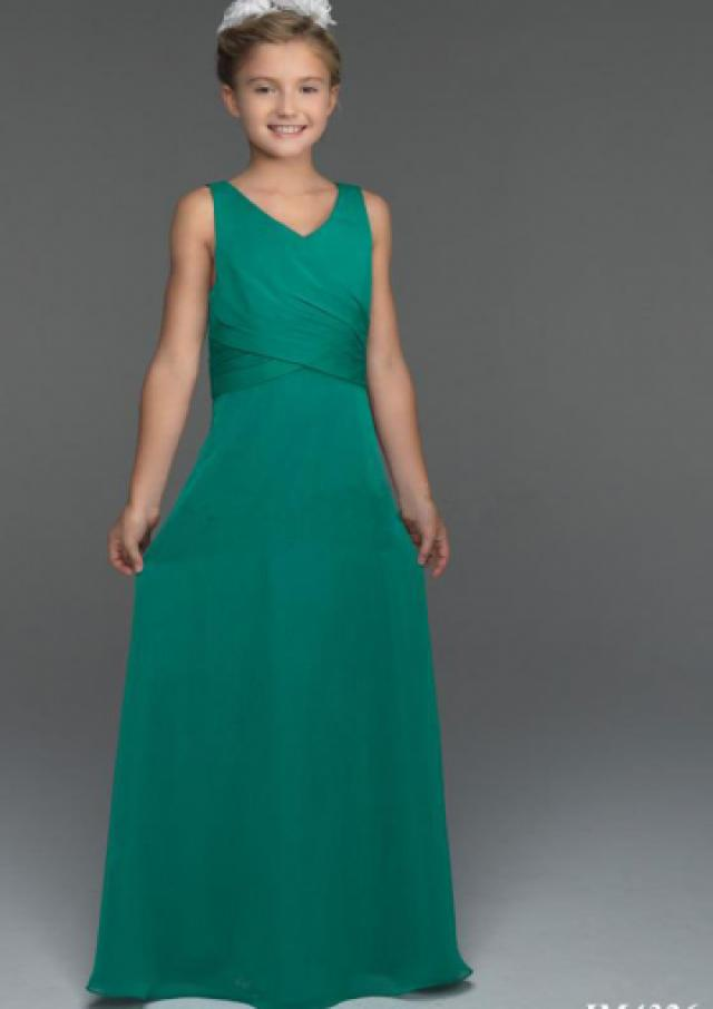 wedding photo - Chiffon Lace Up Green V-neck Ruched Sleeveless Floor Length